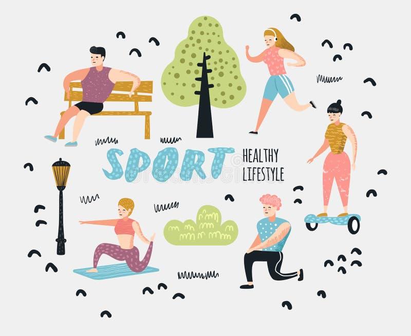 Aktiviteter för utomhus- sportar för sommar Aktivt folk i parkera Köra yoga, rulle, kondition Tecken som gör genomkörare vektor illustrationer