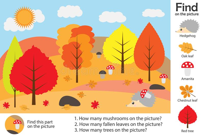 Aktivitetssidan, höstskog i tecknad filmstil, fyndbilder, svarar frågorna, den visuella utbildningsleken för utvecklingen av chie stock illustrationer