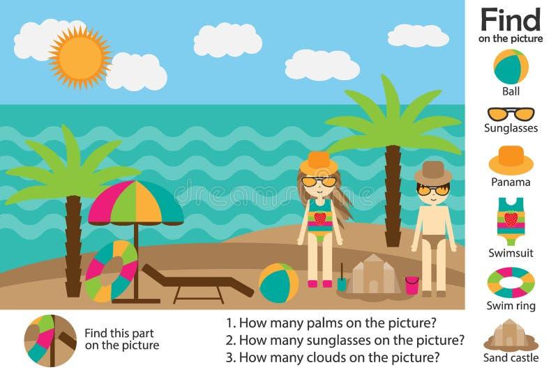 Aktivitetssidan, sommarstrand i tecknad filmstil, finner bilder och att svara frågorna, den visuella utbildningsleken för utveckl vektor illustrationer
