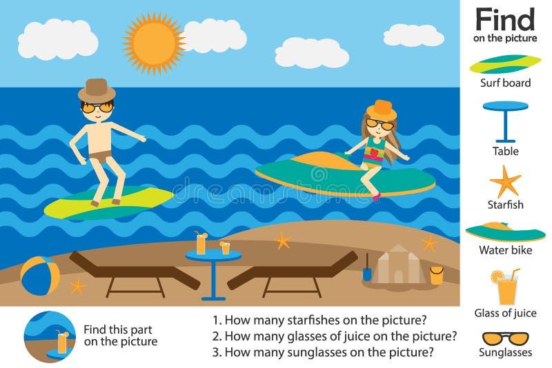 Aktivitetssidan, stil för tecknad film för sommarstrandfolk, finner bilder och att svara frågorna, den visuella utbildningsleken  vektor illustrationer