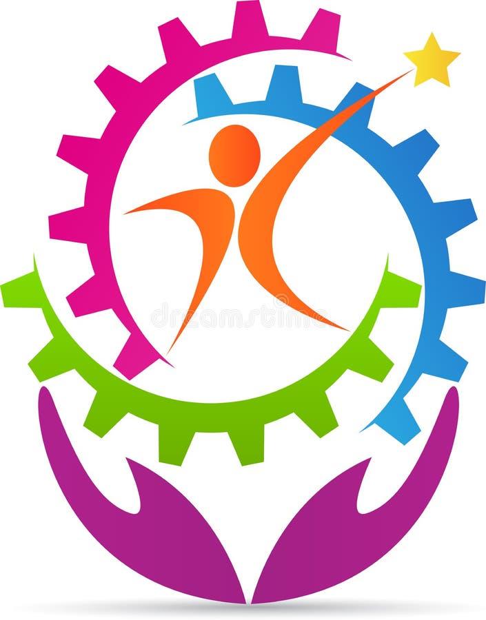 Aktivt folkkugghjul royaltyfri illustrationer