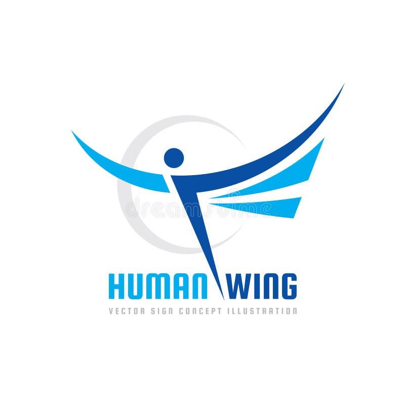 Aktivt mänskligt tecken - illustration för begrepp för mall för vektoraffärslogo Abstrakt man med vingar idérikt tecken Design stock illustrationer