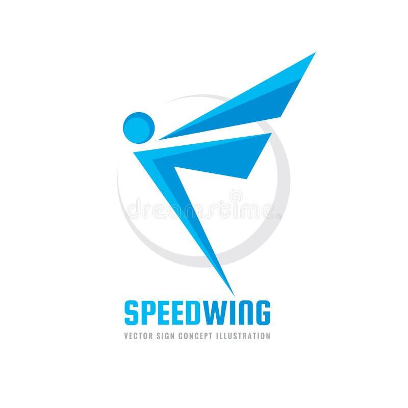Aktivt mänskligt tecken - illustration för begrepp för mall för vektoraffärslogo Abstrakt man med vingar idérikt tecken Design vektor illustrationer