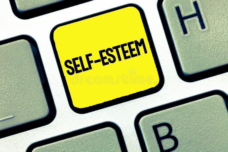 Aktning för själv för ordhandstiltext Affärsidé för förtroende i din egen värde eller personliga gillande för kapaciteter arkivfoton
