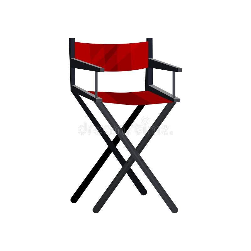Aktora s krzesło z czerni ramową i czerwoną kanwą Kinowy dyrektora siedzenie Przebieralnia meble Płaski wektorowy projekt ilustracji