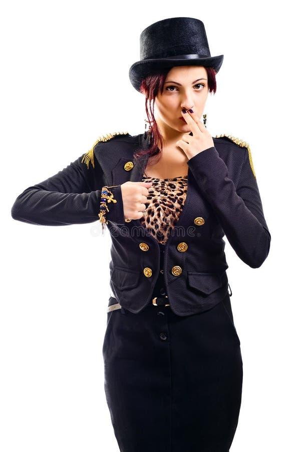 Aktorka kabaret imituje Charli Chaplin zdjęcie royalty free