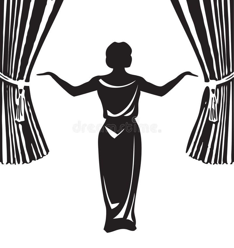 Aktorka na scenie ilustracji