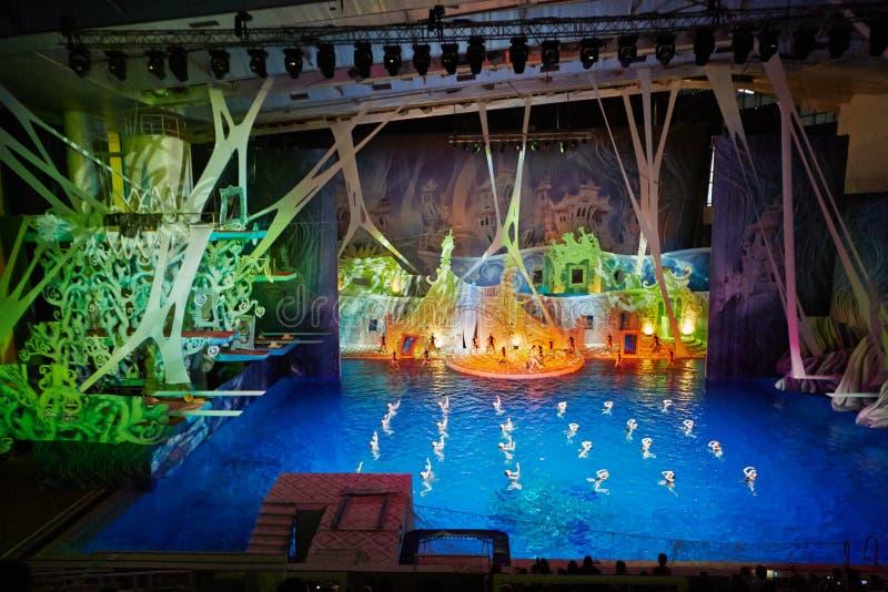 Aktorzy na scenie i synchronizować pływaczki zdjęcie stock
