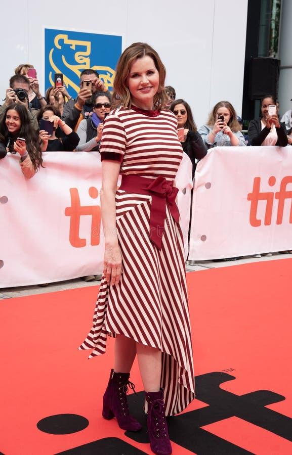 Aktrins Geena Davis på premiären av ` detta ändrar allt ` på tiff2018 arkivfoto