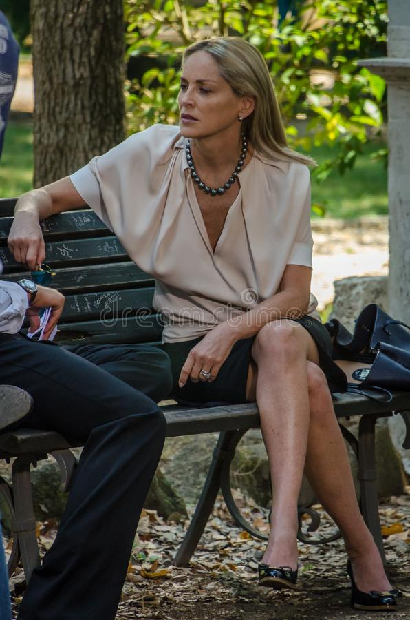 Aktris Sharon Stone i Rome, Italien royaltyfri bild