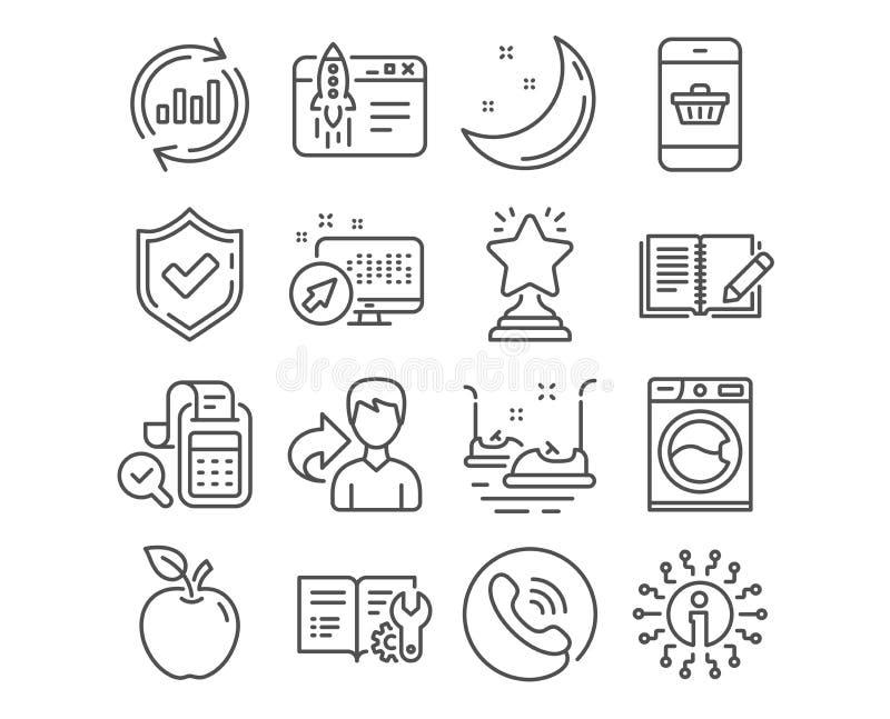 Aktualisieren Sie Daten, Bill-Buchhaltung und Anfangsgeschäftsikonen Autoskooter-, Feedback- und Waschmaschinenzeichen Vektor stock abbildung