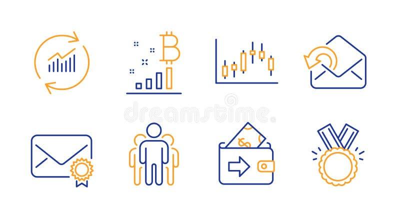 Aktualisieren Sie Daten-, Geldbörsen- und Bitcoin-Diagrammikonensatz Zeichen überprüfte Post, des Gruppen- und Kerzenständerdiagr lizenzfreie abbildung