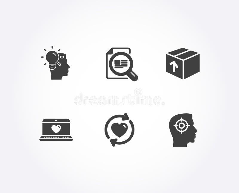 Aktualisieren Sie Verhältnis-, Paket- und Netzliebesikonen Ideen-, Kontrollartikel und Einstellungszeichen vektor abbildung