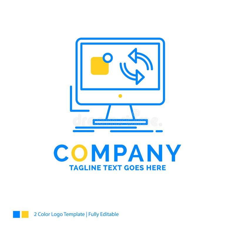 Aktualisierung, App, Anwendung, installieren, Synchronisierung blauer gelber Geschäfts-Klotz vektor abbildung
