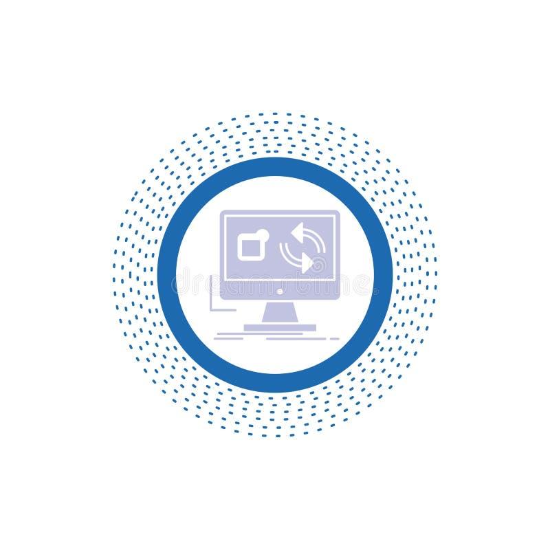 Aktualisierung, App, Anwendung, installieren, Synchronisierung Glyph-Ikone Vektor lokalisierte Illustration lizenzfreie abbildung