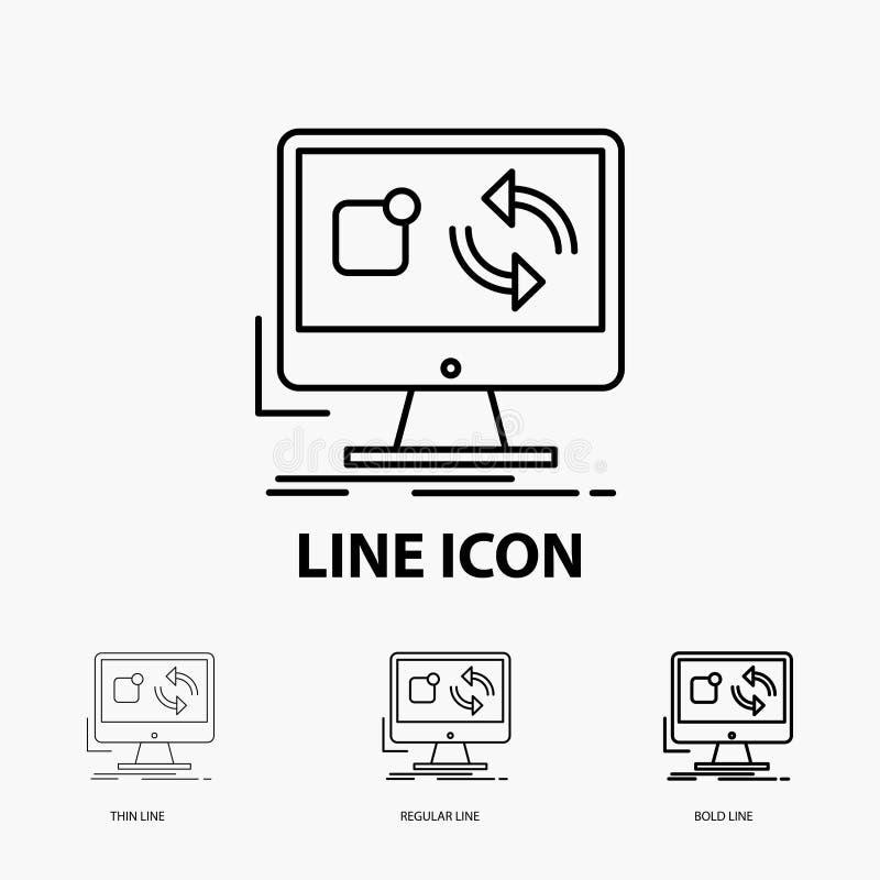 Aktualisierung, App, Anwendung, installieren, Synchronisierung Ikone in dünne, regelmäßige und mutige Linie Art Auch im corel abg stock abbildung