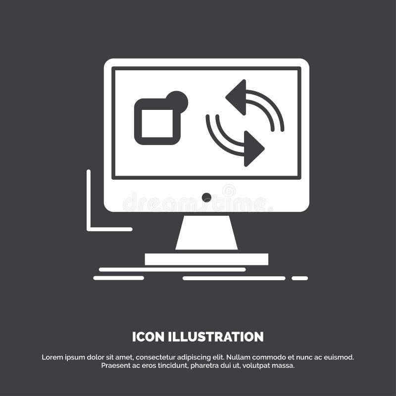 Aktualisierung, App, Anwendung, installieren, Synchronisierung Ikone Glyphvektorsymbol f?r UI und UX, Website oder bewegliche Anw lizenzfreie abbildung