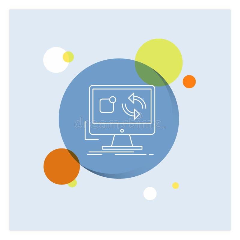 Aktualisierung, App, Anwendung, installieren, Synchronisierung weiße Linie Ikonen-bunter Kreis-Hintergrund vektor abbildung