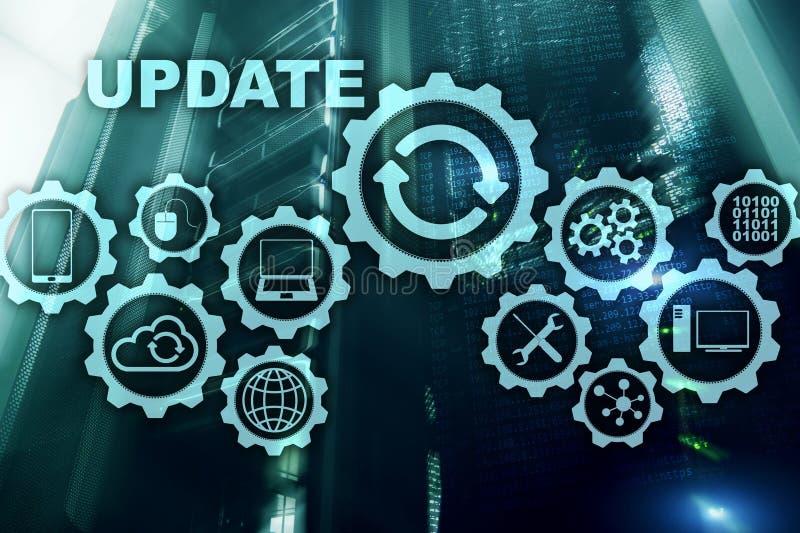 Aktualisierungs-Software-Computer auf virtueller Schirm-Server-Raum Datacenter-Hintergrund Technologie, die Konzept aktualisiert lizenzfreie abbildung