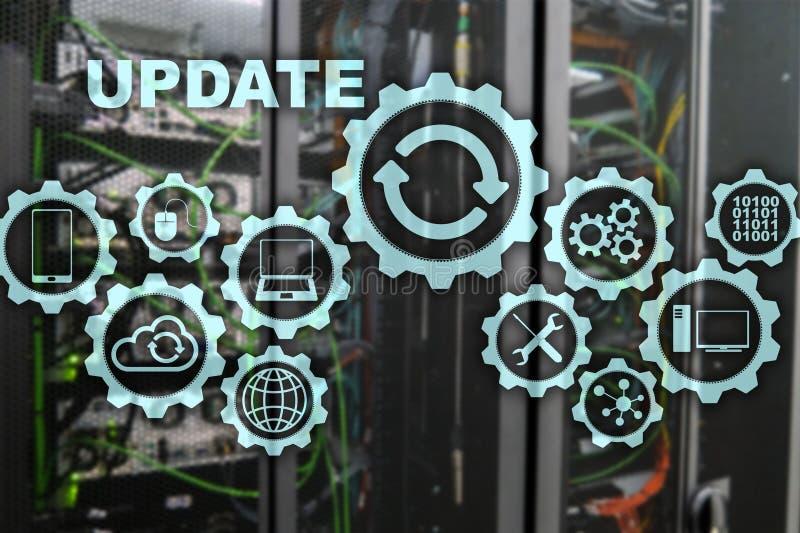 Aktualisierungs-Software-Computer auf virtueller Schirm-Server-Raum Datacenter-Hintergrund Technologie, die Konzept aktualisiert stock abbildung