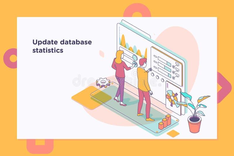 Aktualisierungsdatenbankstatistiken Arbeitsfluß und Geschäftsführung isometrische Illustration des Vektors 3d stock abbildung