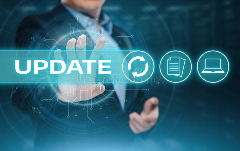 Aktualizaci oprogramowania programa komputerowego ulepszenia technologii interneta Biznesowy pojęcie zdjęcia royalty free