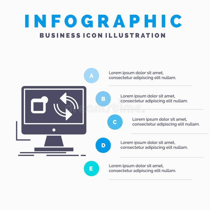 aktualizacja, app, zastosowanie, instaluje, synchronizacji Infographics szablon dla strony internetowej i prezentacja glif Szara  royalty ilustracja