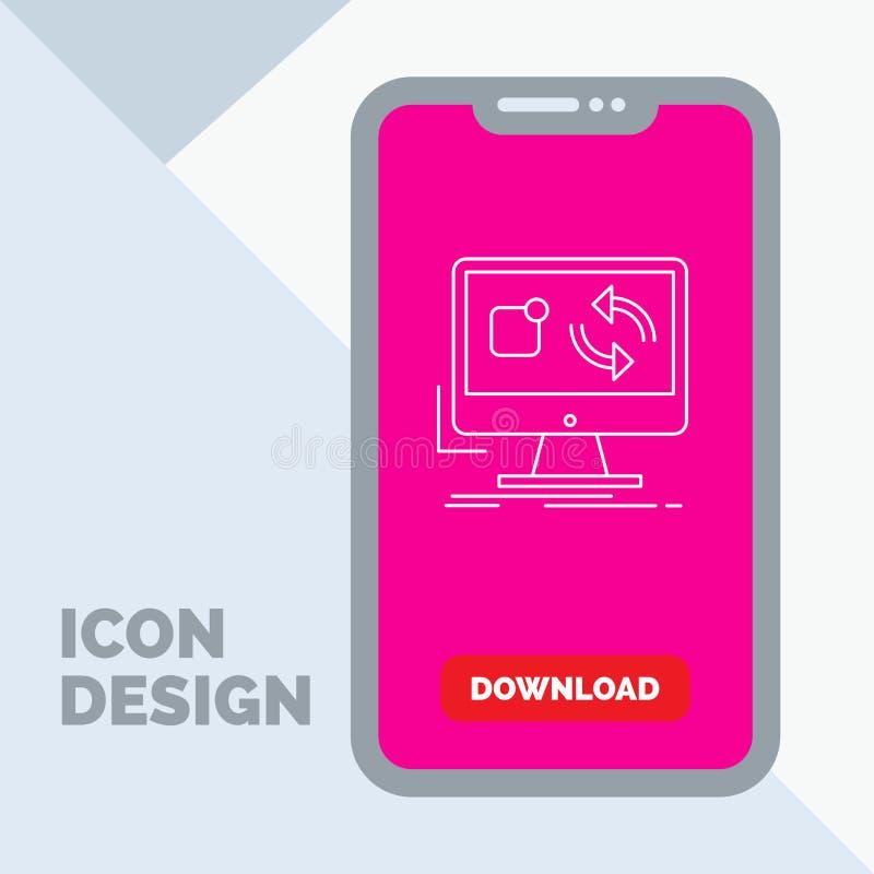 aktualizacja, app, zastosowanie, instaluje, synchronizacji Kreskowa ikona w wiszącej ozdobie dla ściąganie strony royalty ilustracja