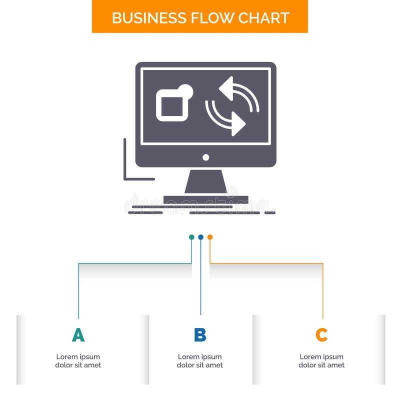 aktualizacja, app, zastosowanie, instaluje, synchronizacji Sp?ywowej mapy Biznesowy projekt z 3 krokami Glif ikona Dla prezentacj ilustracja wektor