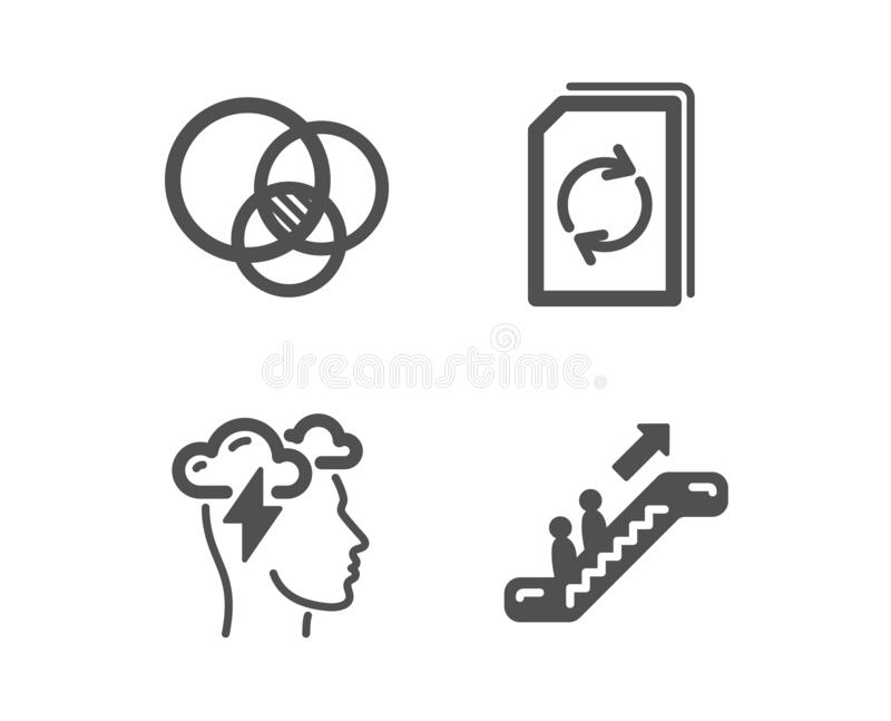 Aktualizacja dokument, Euler diagram i Mindfulness, stresujemy się ikony Eskalatoru znak wektor ilustracja wektor