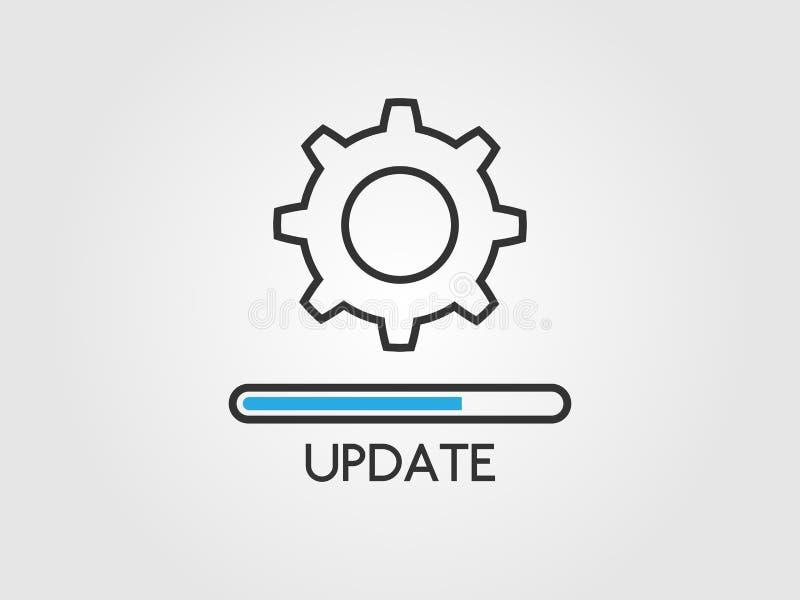 Aktualizacji oprogramowania poj?cie Ulepszenie systemu ikona Podaniowy status i obci??eniowy post?pu bar w mieszkaniu projektujem royalty ilustracja