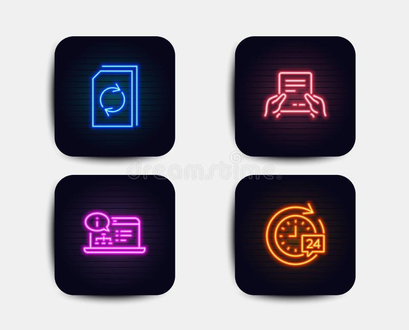 Aktualizuje dokument, Otrzymywa, kartotekę i Online dokumentacji ikony 24h dostawy znak wektor ilustracja wektor