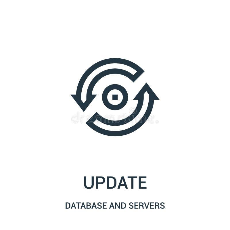 aktualizuje ikona wektor od baza danych i serwerów inkasowych Cienka kreskowa aktualizacja konturu ikony wektoru ilustracja ilustracja wektor