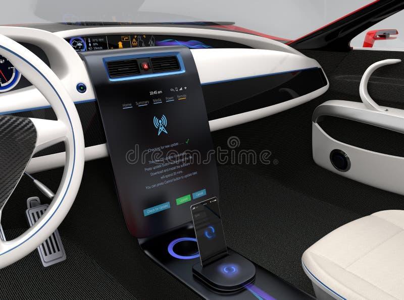 Aktualizuje pojazdu oprogramowania dotyka samochodów centrum konsolę właśnie obraz royalty free
