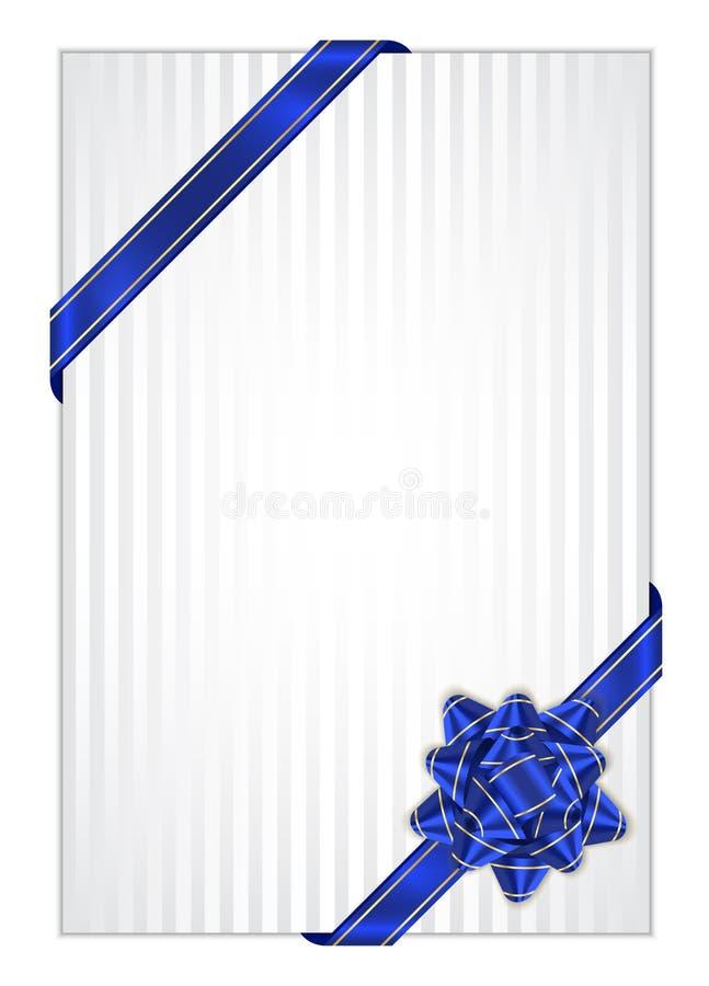 Aktuell bakgrund med den blåa bowen royaltyfri illustrationer