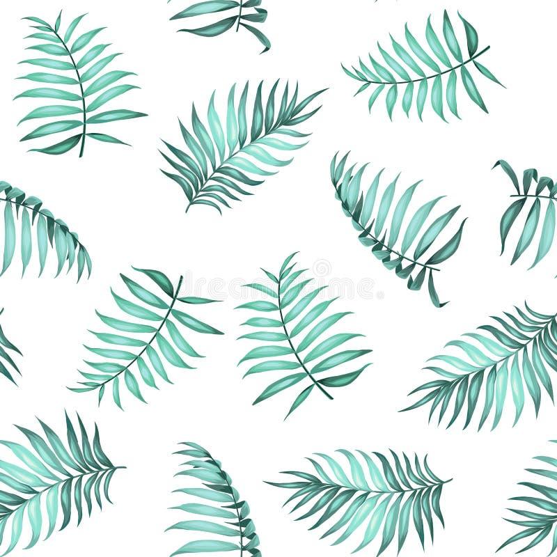 Aktuell palmbladmodell royaltyfri illustrationer