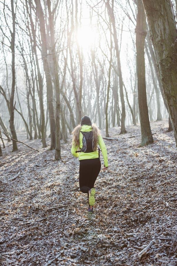 Aktywna kobieta w lesie zdjęcie stock