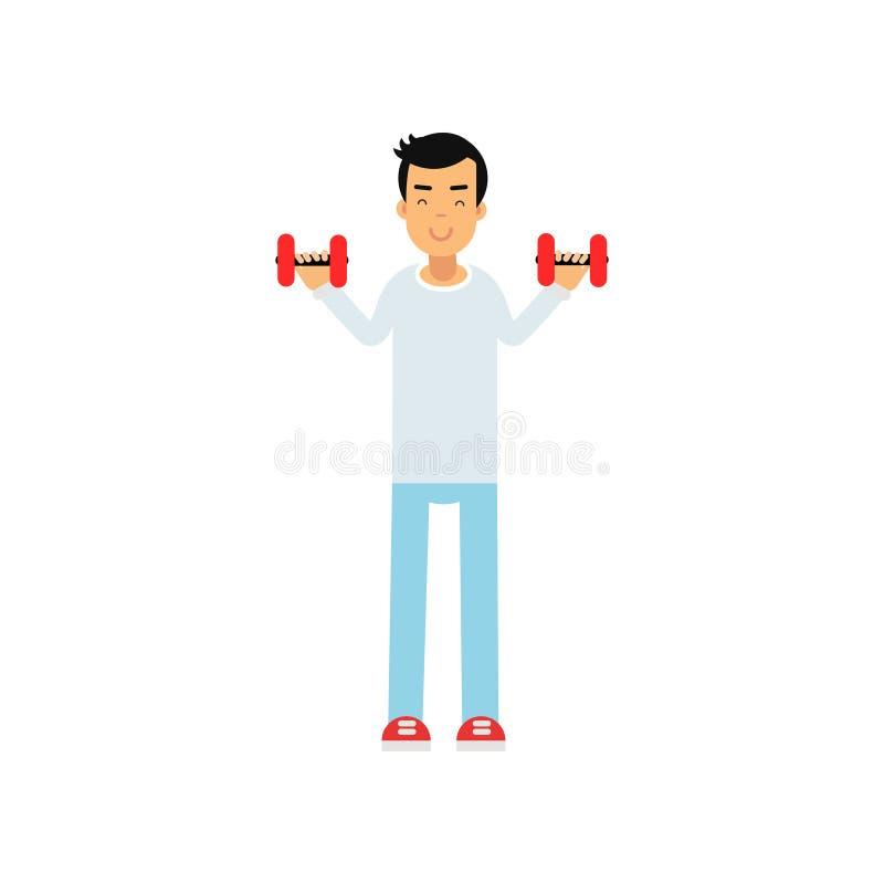 Aktywna nastoletnia chłopiec ćwiczy z dumbells, aktywna stylu życia wektoru ilustracja ilustracji