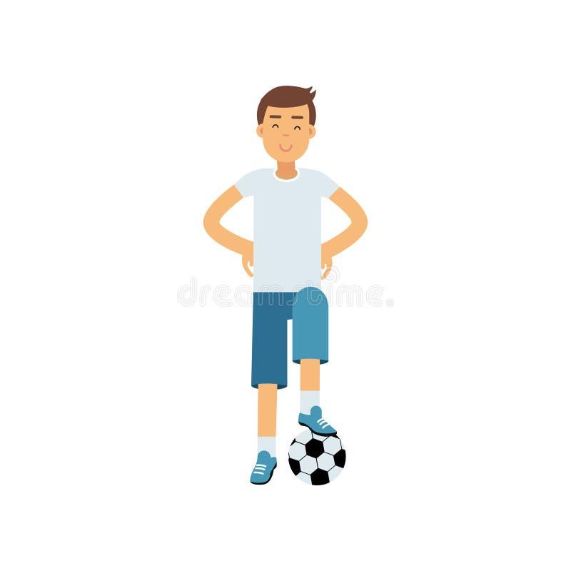 Aktywna nastoletnia chłopiec palying piłki nożnej piłkę, chłopiec robi sportowi, aktywna stylu życia wektoru ilustracja ilustracja wektor