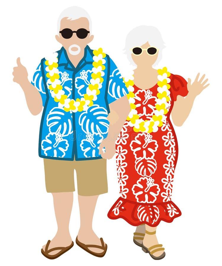 Aktywna Starsza para, Hawajski turysta Odizolowywający ilustracja wektor