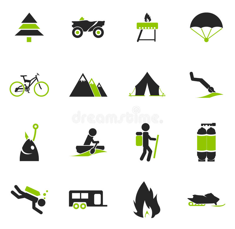 Aktywne rekreacyjne ikony ilustracja wektor