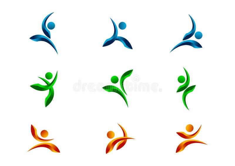 Aktywnego, ludzi, loga, charakteru, sprawności fizycznej, symbolu, zdrowego, atlety, ciała, wektoru, ikony i projekta set, ilustracja wektor