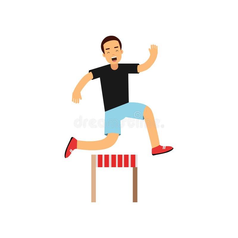 Aktywnej nastoletniej chłopiec skokowa przeszkoda, chłopiec robi sportowi, aktywnego stylu życia wektorowa ilustracja na białym t ilustracja wektor
