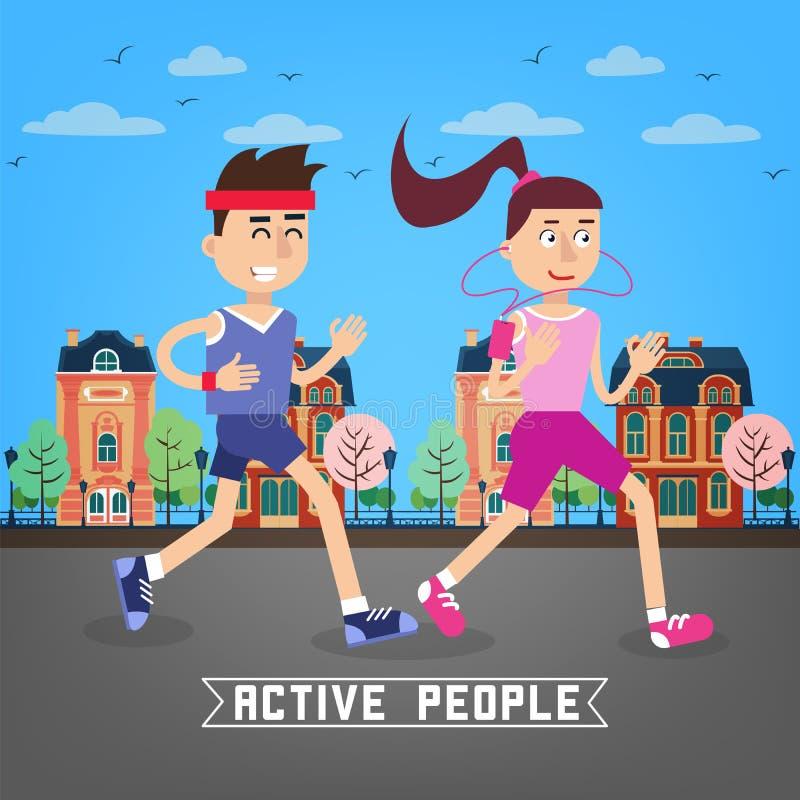 Aktywni ludzie Mężczyzna i kobiety biegacze człowiek dla kobiety ilustracja wektor