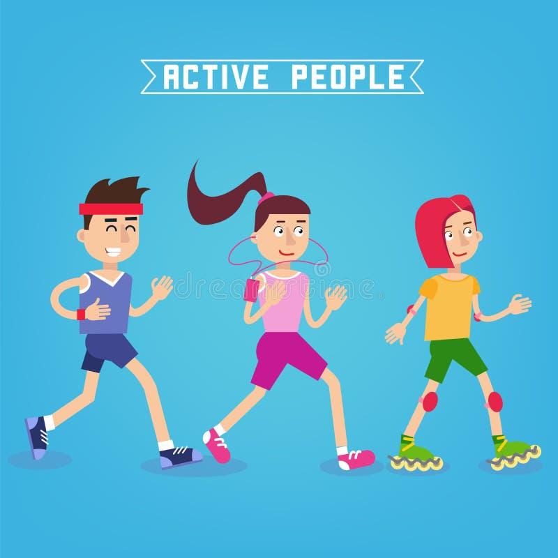 Aktywni ludzie Mężczyzna i kobiety biegacze Dziewczyna na rolkowych łyżwach ilustracji