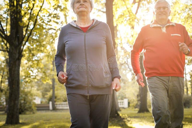 Aktywni seniory dobierają się mieć odtwarzanie w parku wpólnie obrazy royalty free
