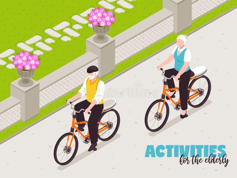 Aktywni Starszy ludzie tło ilustracja wektor