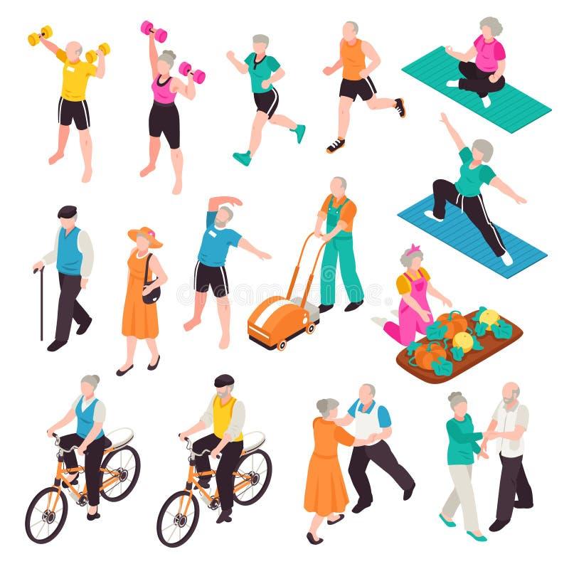 Aktywni Starszy ludzie Ustawiający ilustracji