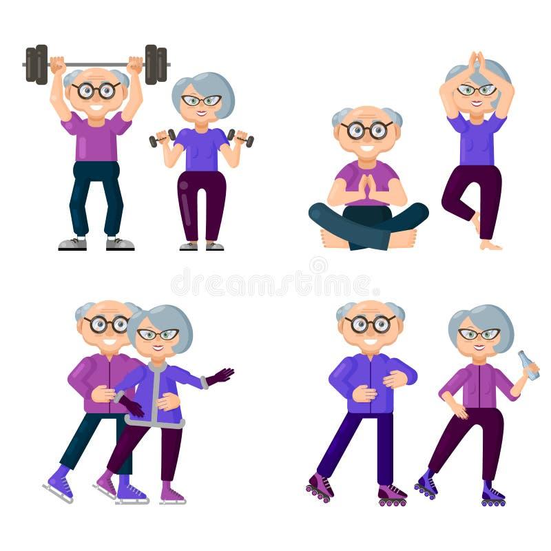 Aktywni starzy ludzie anga?uj? w sportach Set sporty dla starszych osob ilustracji