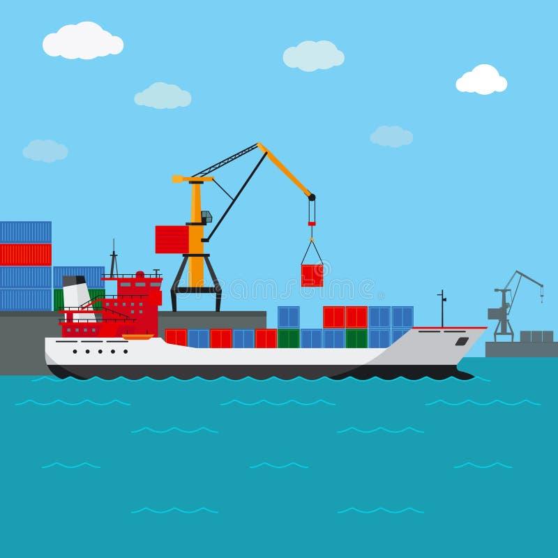 aktywność ładunku Hamburg portu statek Frachtowa wysyłka wodą royalty ilustracja